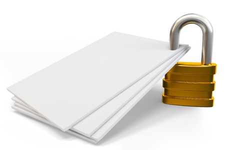 3d lock on blank documents on white background photo
