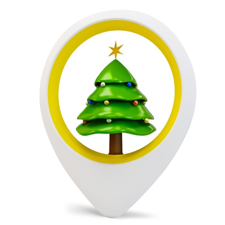 3d round pointer with pine tree on white background photo
