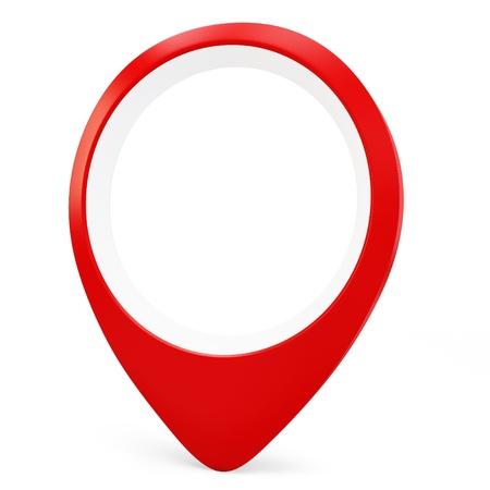 3d red round pointer locator on white background photo