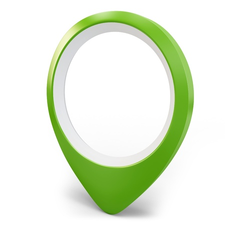 3d green round pointer locator on white background photo