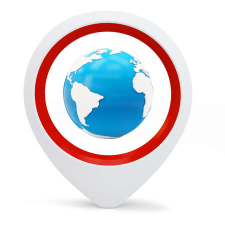 3d round pointer with earth globe on white background Stock Photo - 16015967