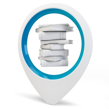 3d round pointer with blank books on white background Stock Photo - 16015961