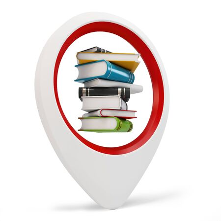 3d round pointer with books on white background Stock Photo - 16015968