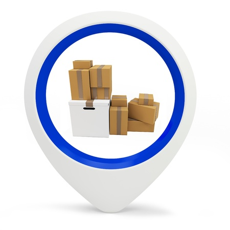 3d round pointer with parcel boxes  on white background Stock Photo - 16015956