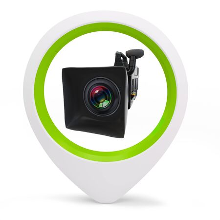 3d round pointer with  video camera on white background Stock Photo - 16015966