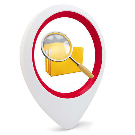3d round pointer with file search on white background Stock Photo - 16015877
