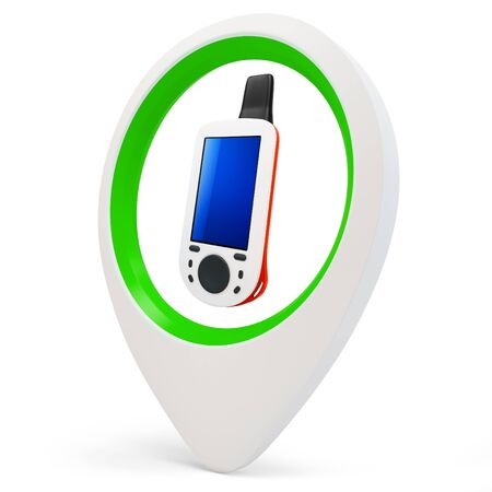 3d round pointer with gps device  on white background Stock Photo - 16015865
