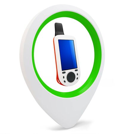 gps device: 3d round pointer with gps device  on white background
