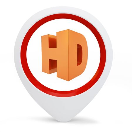 3d round pointer with hd symbol on white background photo