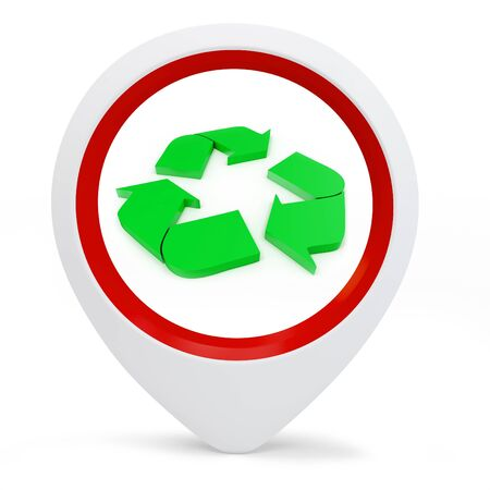 3d round pointer with recycle symbol on white background photo