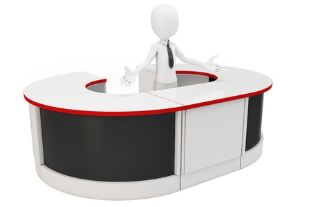 homecoming: 3d man businessman welcoming with open arms at helpdesk Stock Photo
