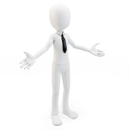 man presenting: 3d man businessman welcoming with open arms on white background