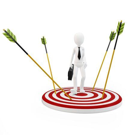 avoiding: 3d man businessman avoiding arrows on white background