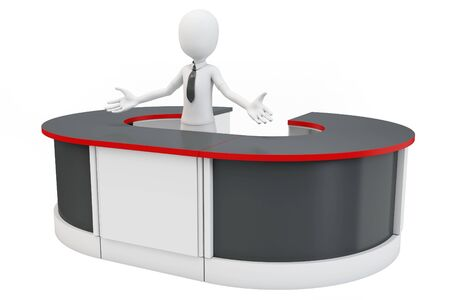 3d man businessman welcoming with open arms at helpdesk photo