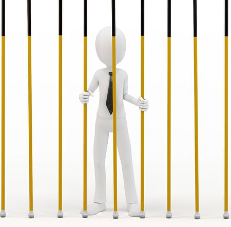 inmate: 3d man businessman behind bars on white background Stock Photo