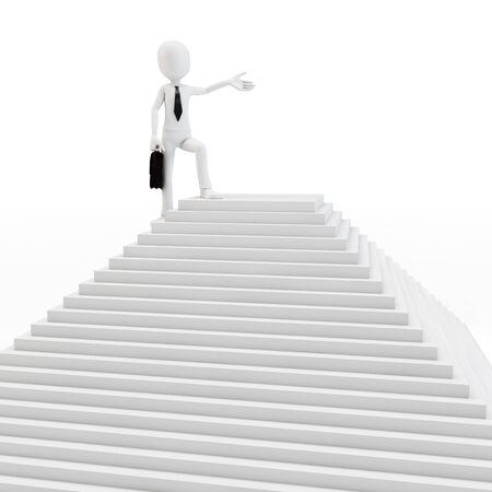 piramide humana: Hombre 3d en la parte superior de la pirámide en el fondo blanco