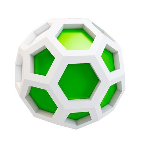 icosahedron: 3d icosahedron abstract model on white background