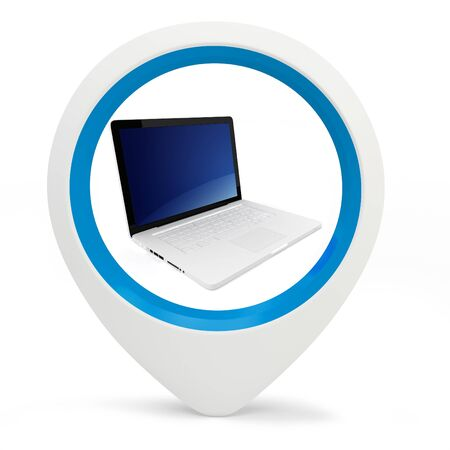 3d round pointer with laptop on white background Stock Photo - 16133834