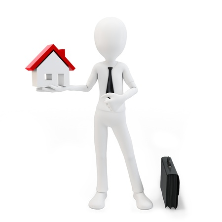 selling house: 3d business man with house and briefcase on white background