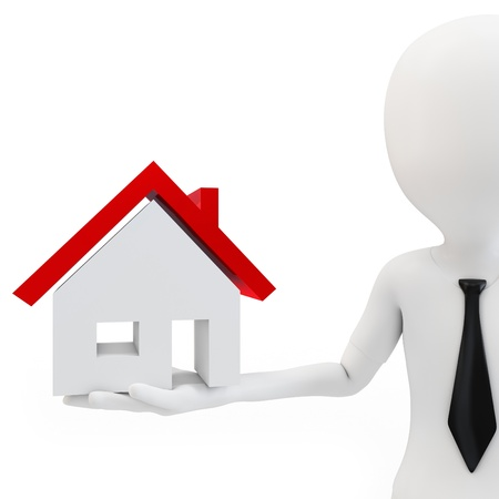 3d business man with house on white background Stock Photo - 16430449