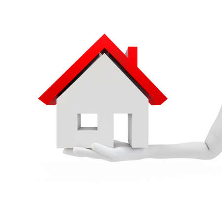 homes for sale: 3d hand with house on white background Stock Photo
