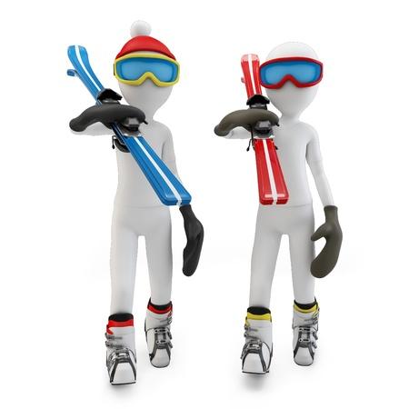 3d man lopen naar het skigebied op wit wordt geïsoleerd