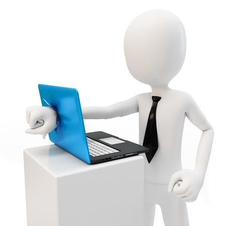 destroying: 3d man breaking laptop screen on white background Stock Photo
