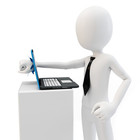 destroy: 3d man breaking laptop screen on white background Stock Photo