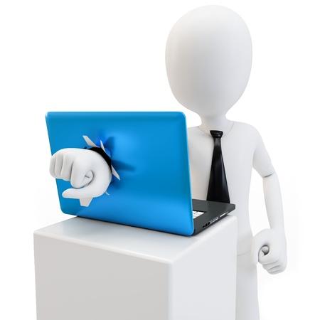 3d man breken laptop scherm op een witte achtergrond Stockfoto