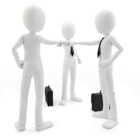 3d man business team joining hands on white background photo