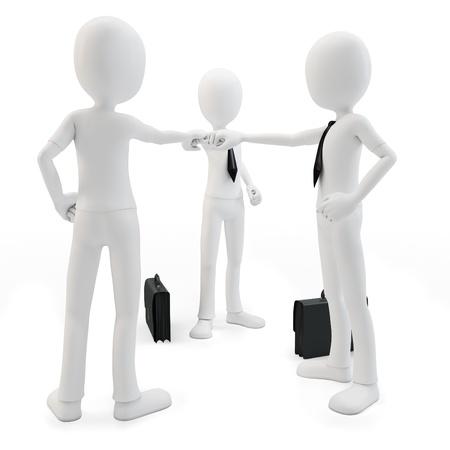 pacto: Equipo 3d hombre de negocios uniendo las manos sobre fondo blanco Foto de archivo