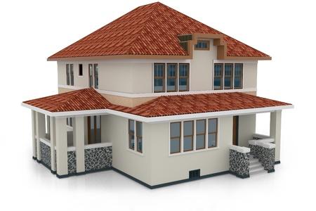 흰색에 고립 된 3d 집 일반 렌더링