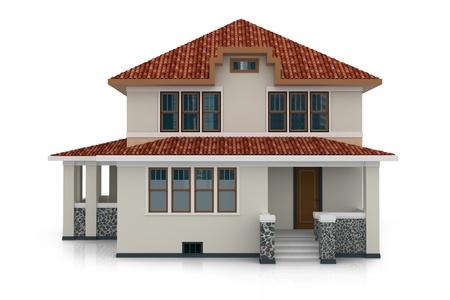 3d huis geïsoleerd op wit gemaakt generieke