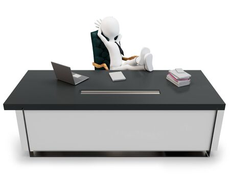 3d man businessman at desk on white background photo