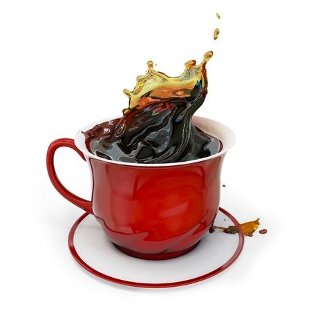3d red Tasse Kaffee mit splash auf weißem Hintergrund
