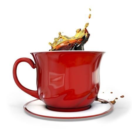 coffee pot: 3d red coffee cup with splash on white background