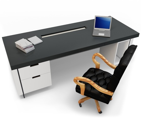 3d desk with laptop and executive chair on white background photo
