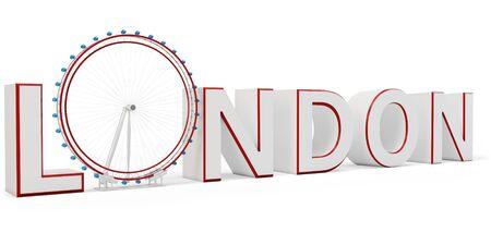 london eye: 3d london eye symbol on white background Stock Photo