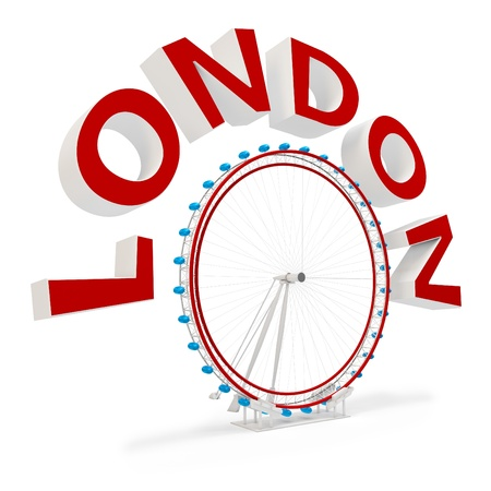 london eye: 3d london eye symbol  on white background