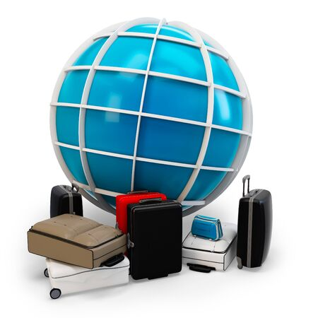 3d global traveling with pile of luggage on white background photo