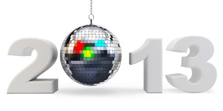 3d year 2013 and disco ball  on white background  photo