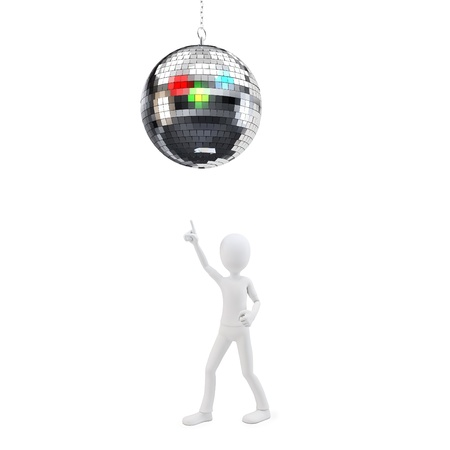 3d man at party with disco ball on white background Stock Photo - 17096868