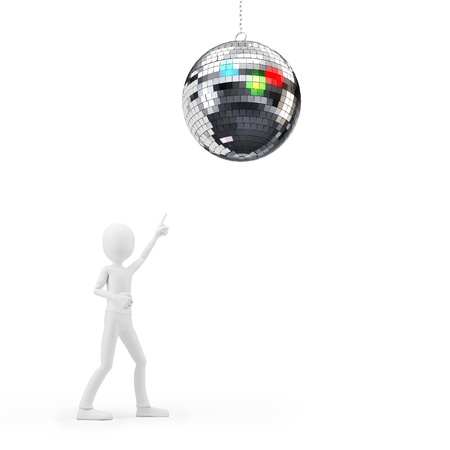 3d man at party with disco ball on white background Stock Photo - 17096869