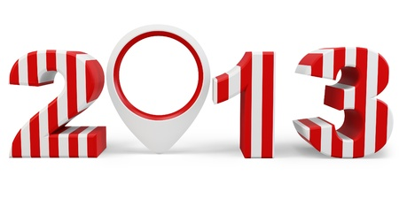 point of interest: 3d year 2013 and interest point on white background Stock Photo