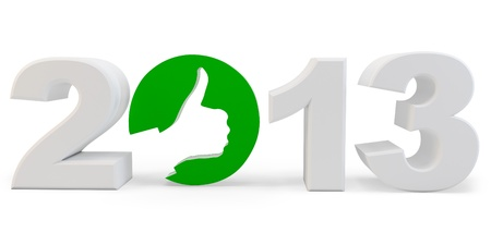 3d year 2013 and  ok sign with hand design  on white background photo