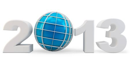 3d year 2013 and globe symbol on white background photo