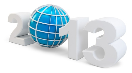 3d year 2013 and globe symbol on white background Stock Photo - 17096896