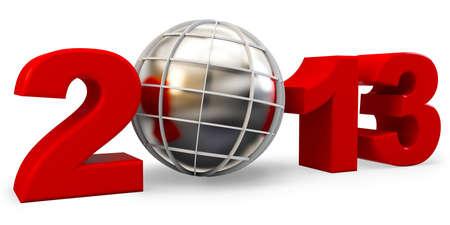 3d year 2013 and globe symbol on white background Stock Photo - 17096880