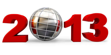 3d year 2013 and globe symbol on white background Stock Photo - 17096871