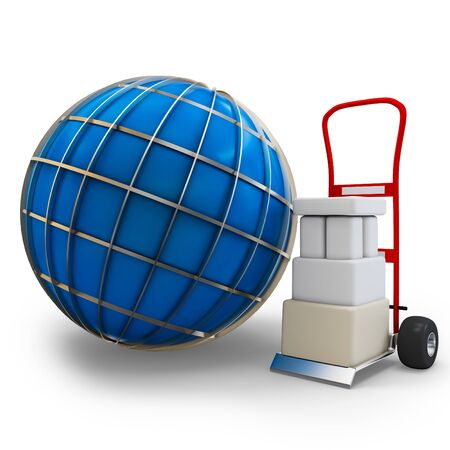 sacktruck: 3d globe with cart and boxes  on white background Stock Photo